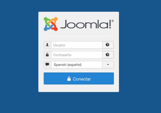 La pantalla de inicio de sesión del panel de Joomla CMS