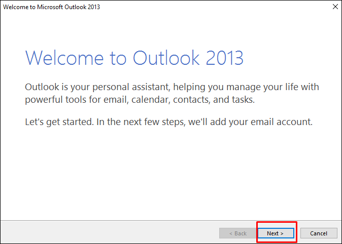 Outlook mail kurulumu karşılama ekranı
