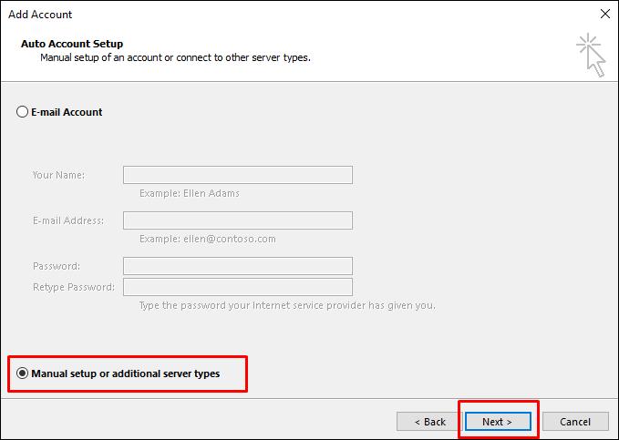 Outlook mail manüel kurulum