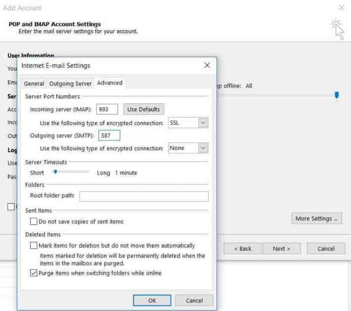 Microsoft Outlook 2013'de sunucu ve port ayarlarını yapılandırma.