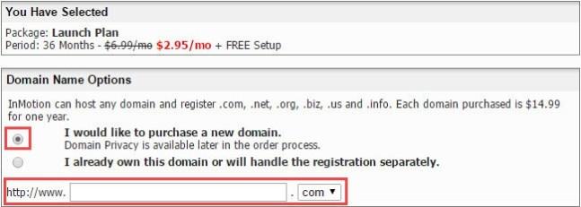 enter domain name - InMotion