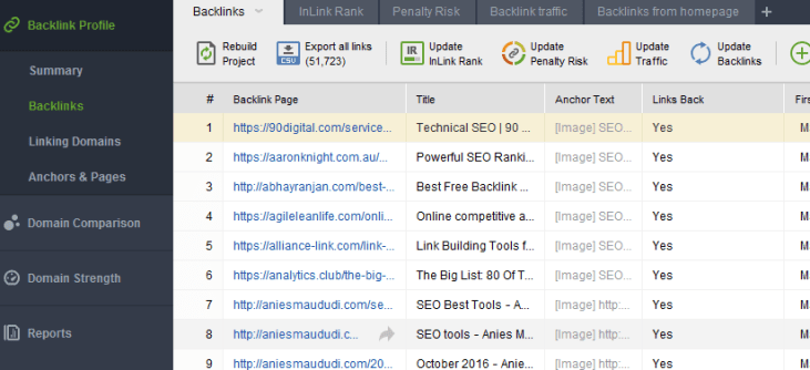 competitor analysis tool SEO spyglass