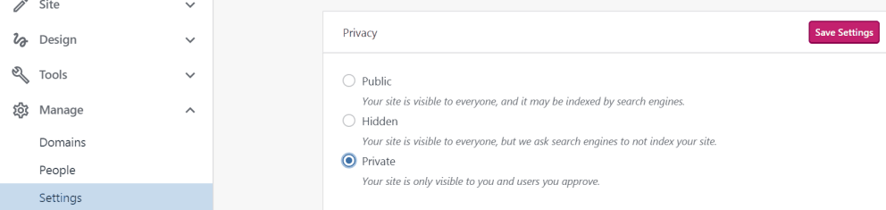 change blog privacy to private
