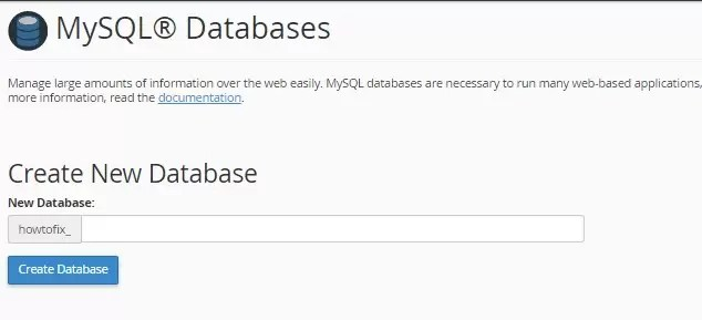 create new database cpanel