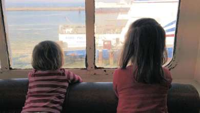 au pair host children on the ferry