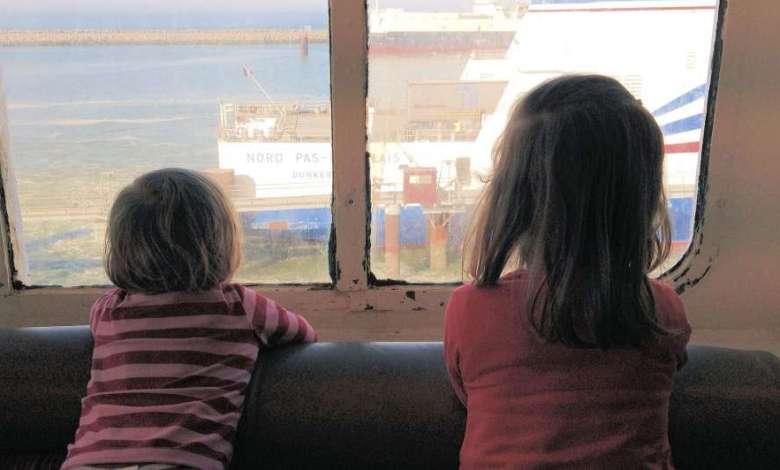 au pair host children on the ferry