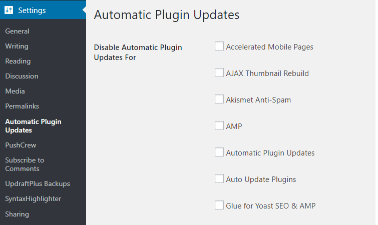 Auto Update WordPress Plugins Settings