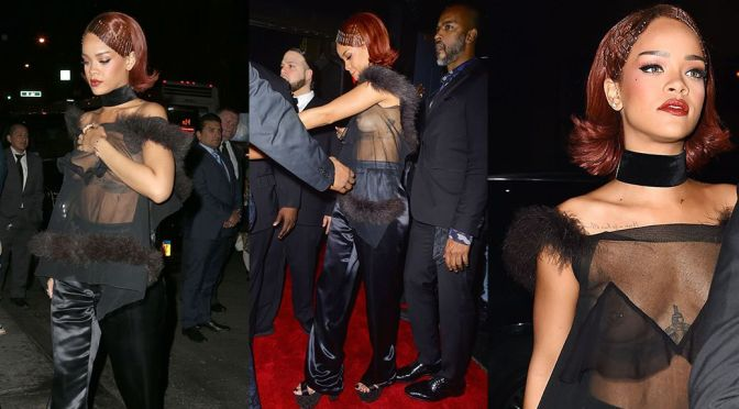 Rihanna – Braless See-Through Candids at Met Gala After Party in New York