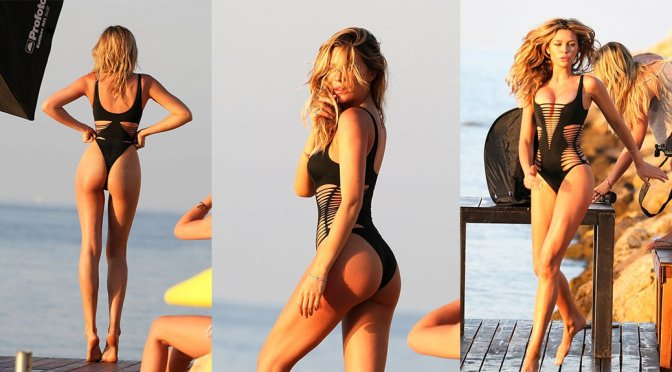 Abbey Clancy – Swimsuit Photoshoot Candids in Majorca