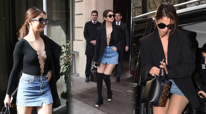 Selena Gomez – Upskirt Candids in Paris