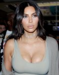 Kim Kardashian - Cleavage Candids in Paris