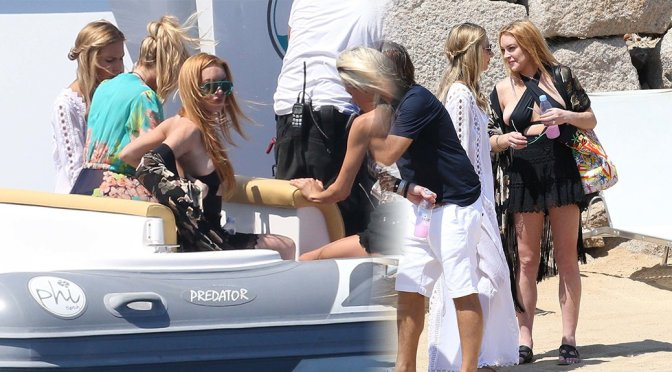 Lindsay Lohan – Braless Candids in Sardinia