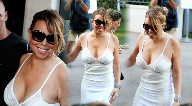 Mariah Carey – Cleavage Candids in St. Tropez