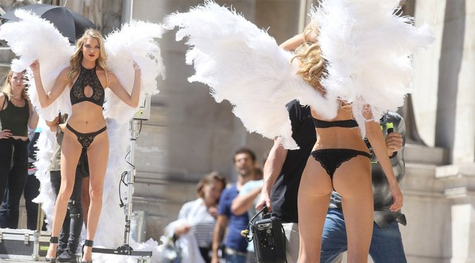 Martha Hunt – Victoria's Secret Lingere Photoshoot Candids in Paris