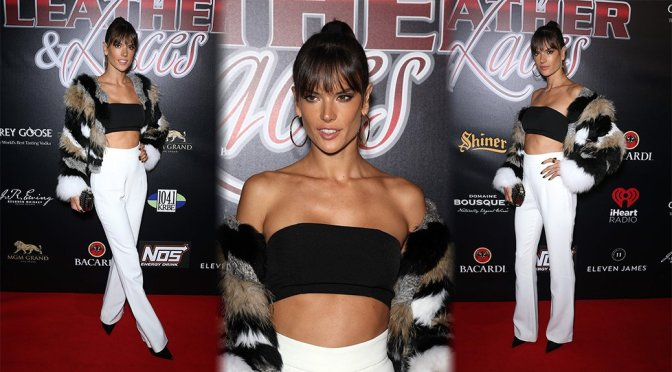 Alessandra Ambrosio – Leather & Laces SuperBowl Party in Houston