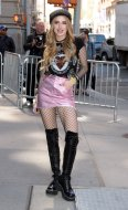 Bella Thorne sexy in black boots, fishnet and pink mini skirt