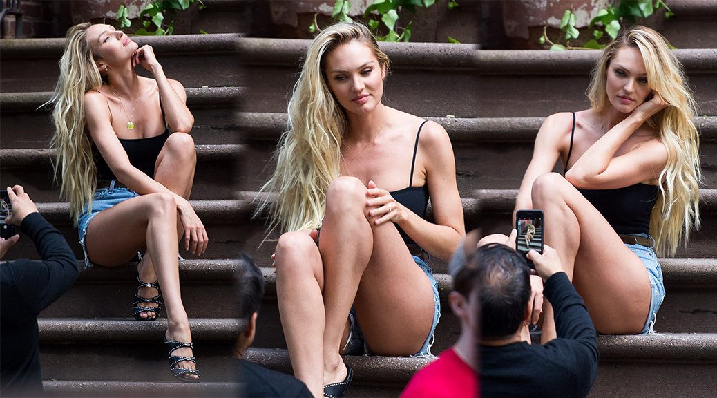 Candice Swanepoel - Leggy Candids in New York