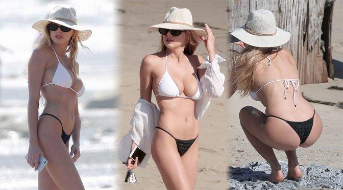Charlotte McKinney – Bikini Candids in Los Angeles