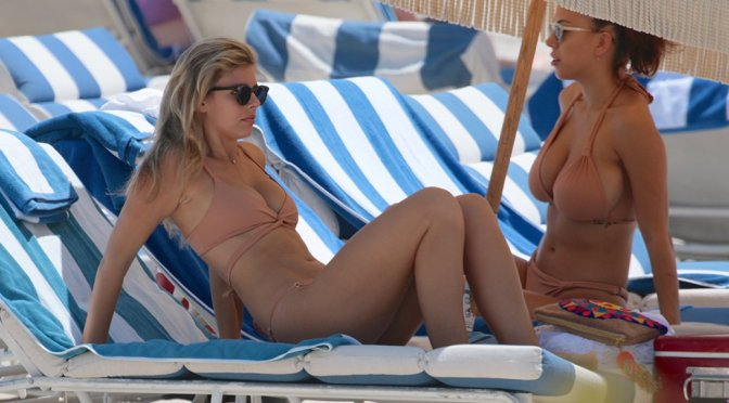 Natasha Oakley and Devin Brugman – Bikini Candids in Miami