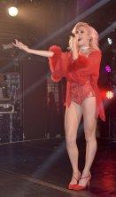 Pixie Lott in red lingerie performing at Heaven Nightclub in London