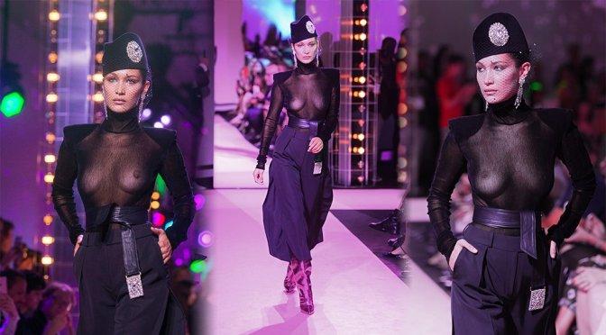 Bella Hadid – Braless See-Through at Alexandre Vauthier Fashion Show