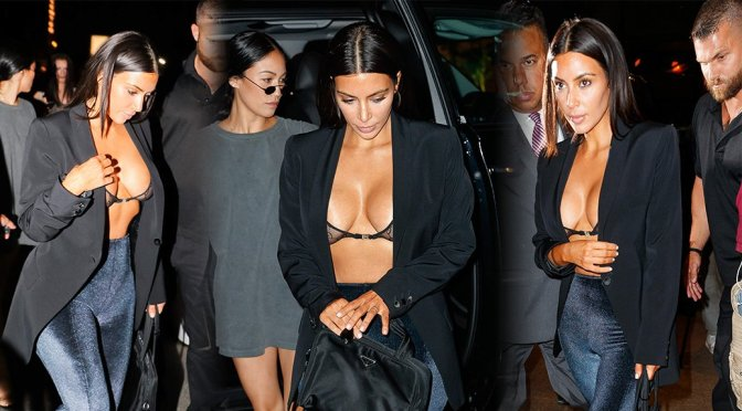 Kim Kardashian – Cleavage Candids in New York
