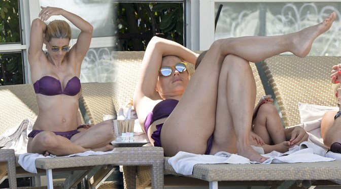 Michelle Hunziker – Bikini Candids in Milan