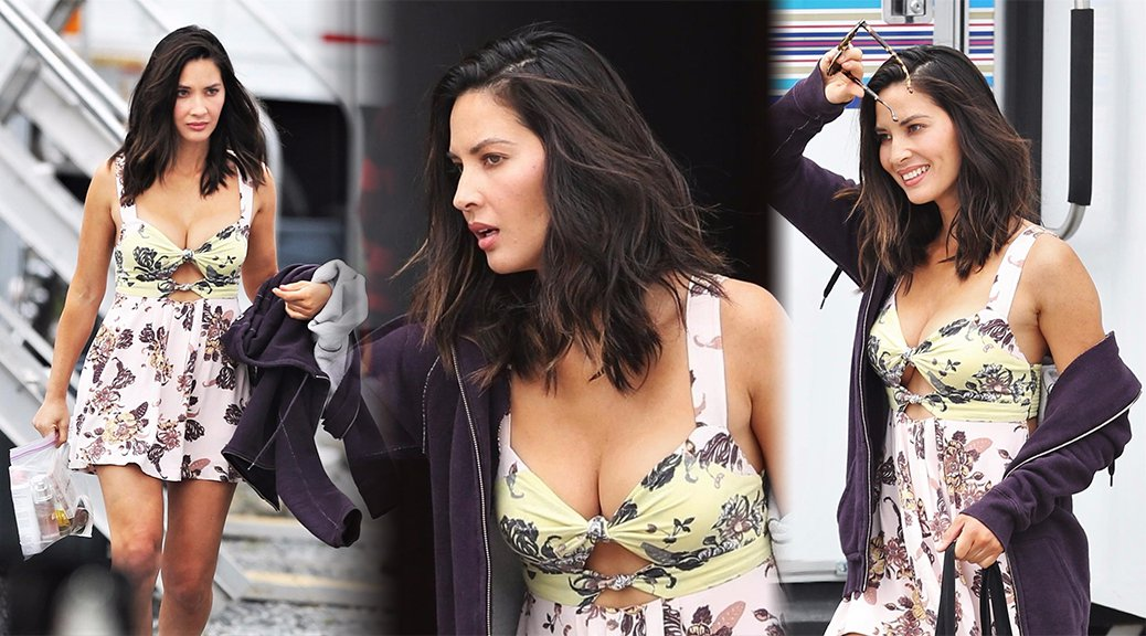 "Olivia Munn - Cleavage Candids on ""The Buddy Games"" Set in Vancouver"