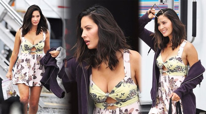 "Olivia Munn – Cleavage Candids on ""The Buddy Games"" Set in Vancouver"