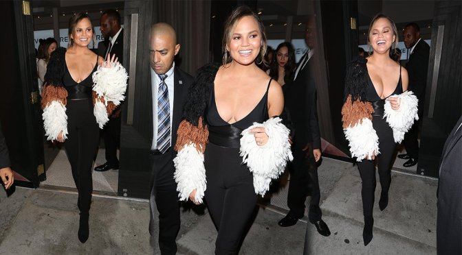 Chrissy Teigen – Revolve Lingerie Launch Party in West Hollywood