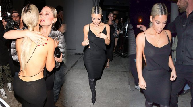 Kim Kardashian – Braless See-Through Candids in Los Angeles