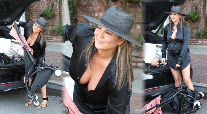 Chrissy Teigen – Cleavage Candids in West Hollywood