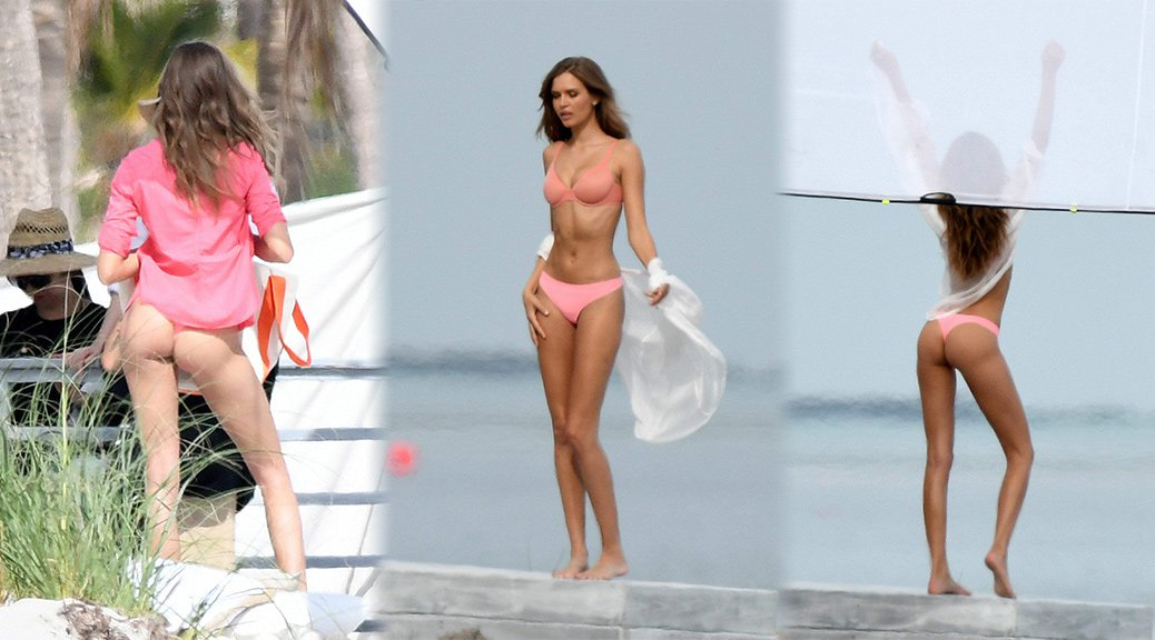 Josephine Skriver - Lingerie Photoshoot Candids in Miami