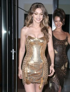 Gigi Hadid Sexy Gold Dress
