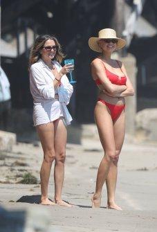 Charlotte Mckinney Red Bikini Big Boobs