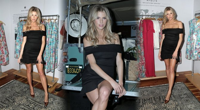 Charlotte Mckinney Sexy Long Legs In Short Black Dress