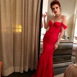 Bella Thorne Red Hot In Red Dress