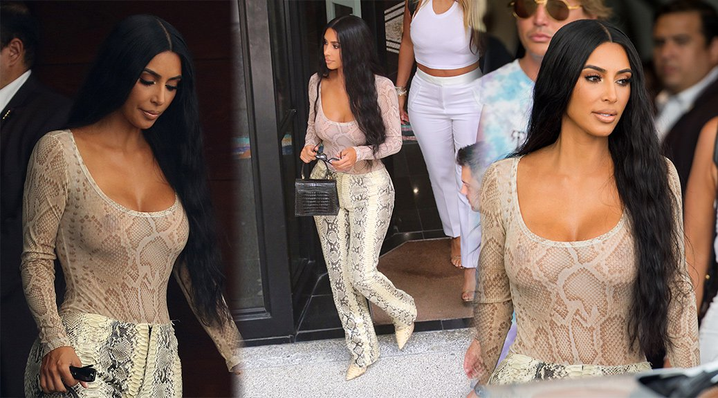 Kim Kardashian - Braless See-Through Candids in Miami