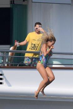 Rita Ora In Swimsuit On Yacht In Italy