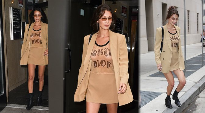 Bella Hadid – Braless See-Through Candids in New York