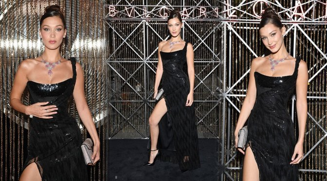 Bella Hadid Sexy Black Dress