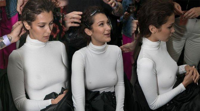 Bella Hadid – Braless Candids at Prabal Gurung Fashion Show