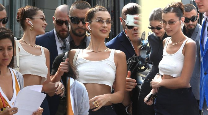 Bella Hadid Sexy Braless Boobs