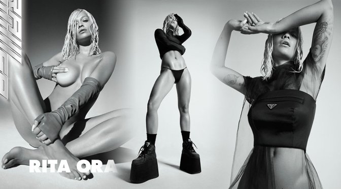 Rita Ora Topless Covered With Fingers