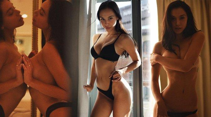 Alexis Ren Black Lingerie And Handbra Topless