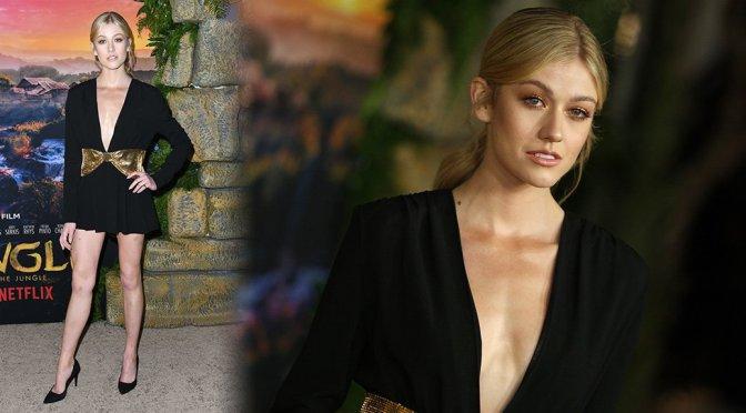 "Katherine McNamara Braless and Leggy at ""Mowgli"" Premiere in Hollywood"