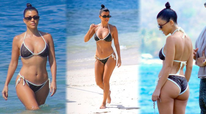 Kourtney Kardashian – Bikini Candids on the Beach in Bali