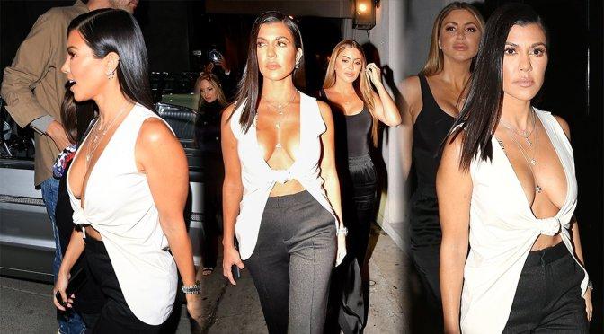 Kourtney Kardashian – Braless Cleavage Candids in Los Angeles
