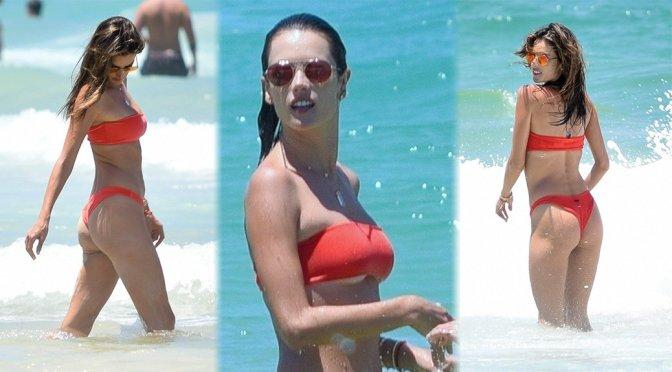 Alessandra Ambrosio in Red Bikini on Beach in Florianopolis