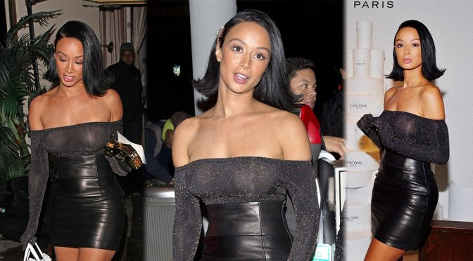 Draya Michele – Braless See-Through Candids at Delilah in West Hollywood